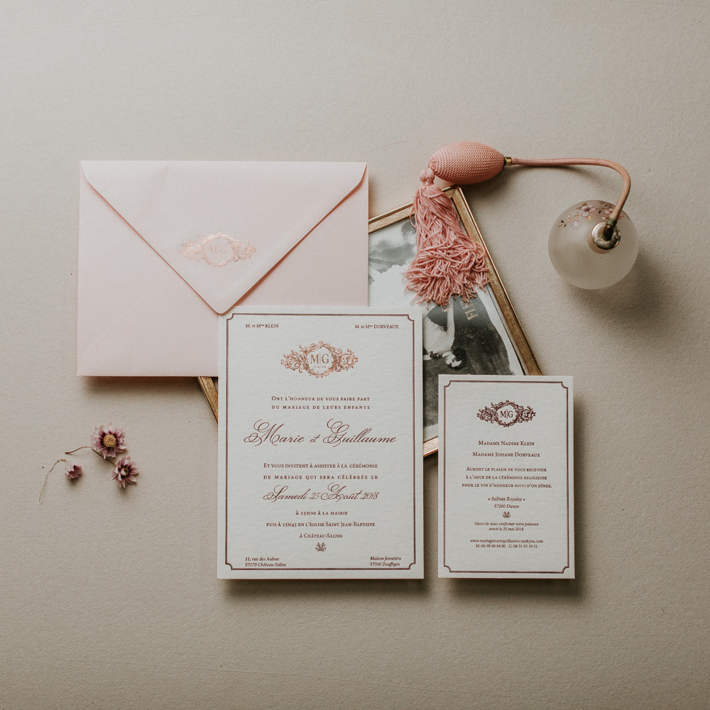 Faire_Part_Marie_Guillaume_Letterpress_dorure_Rose_Bordeau